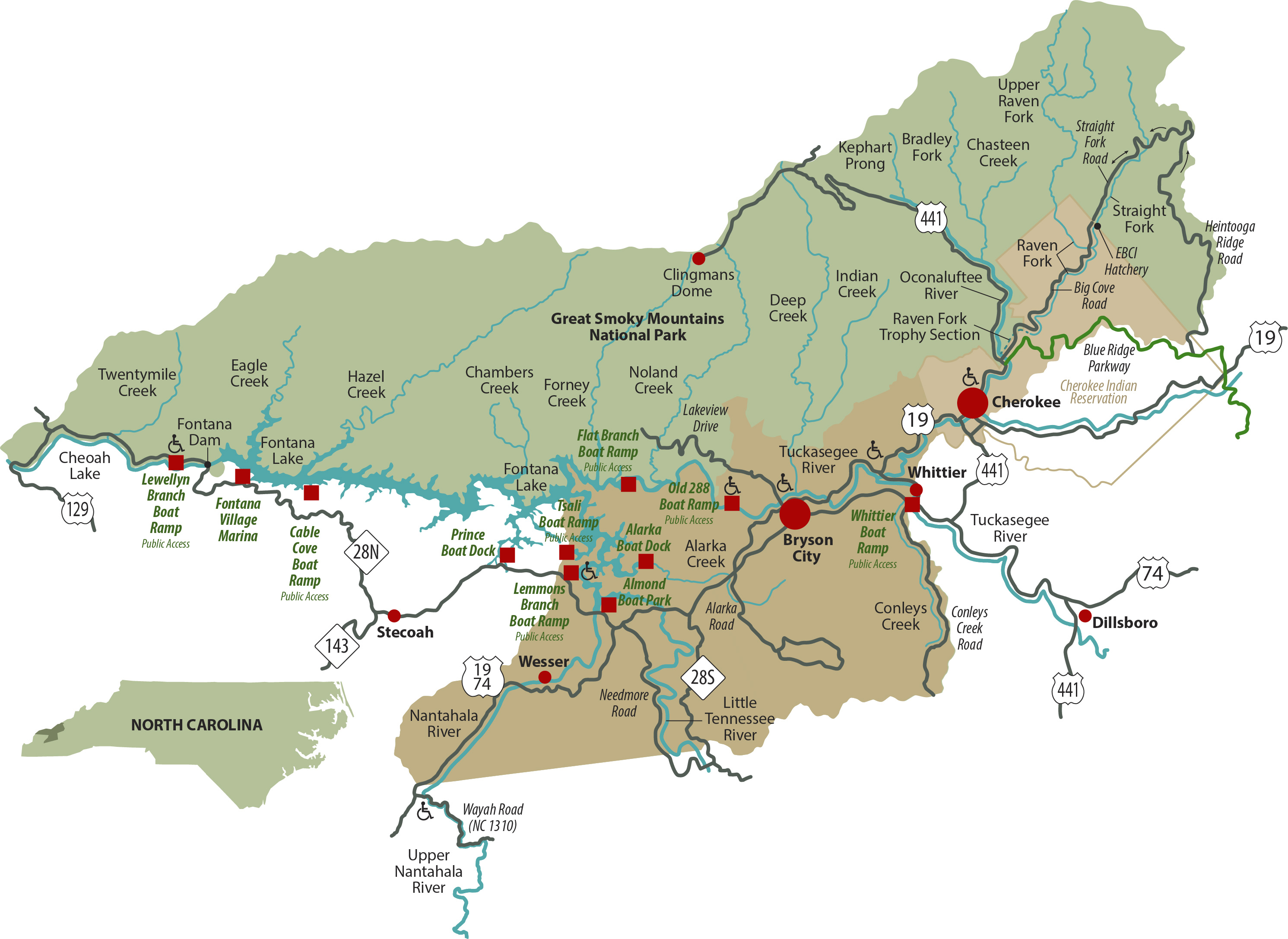 Trout Fishing In Tennessee Map.Bryson City Nc Area Fishing Map For The Smokies Including Cherokee
